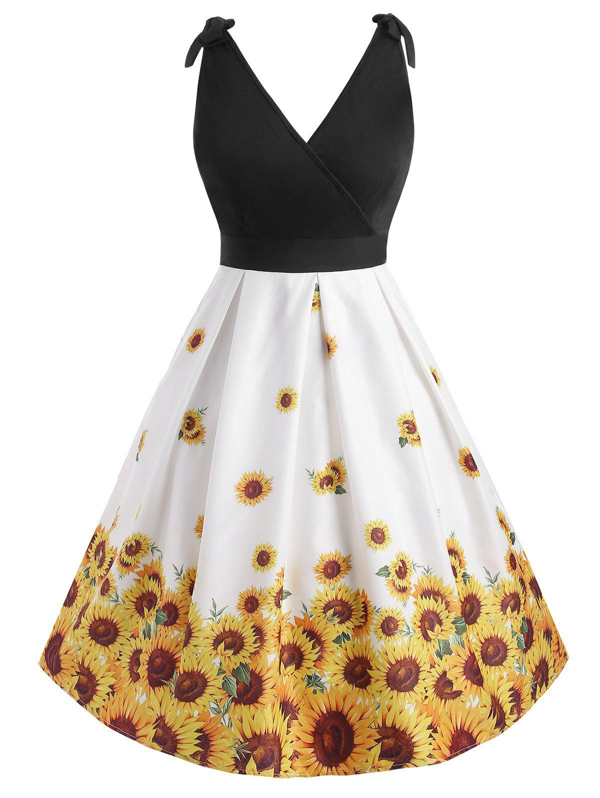 Affordable Sunflower Plus Size Surplice Vintage Dress