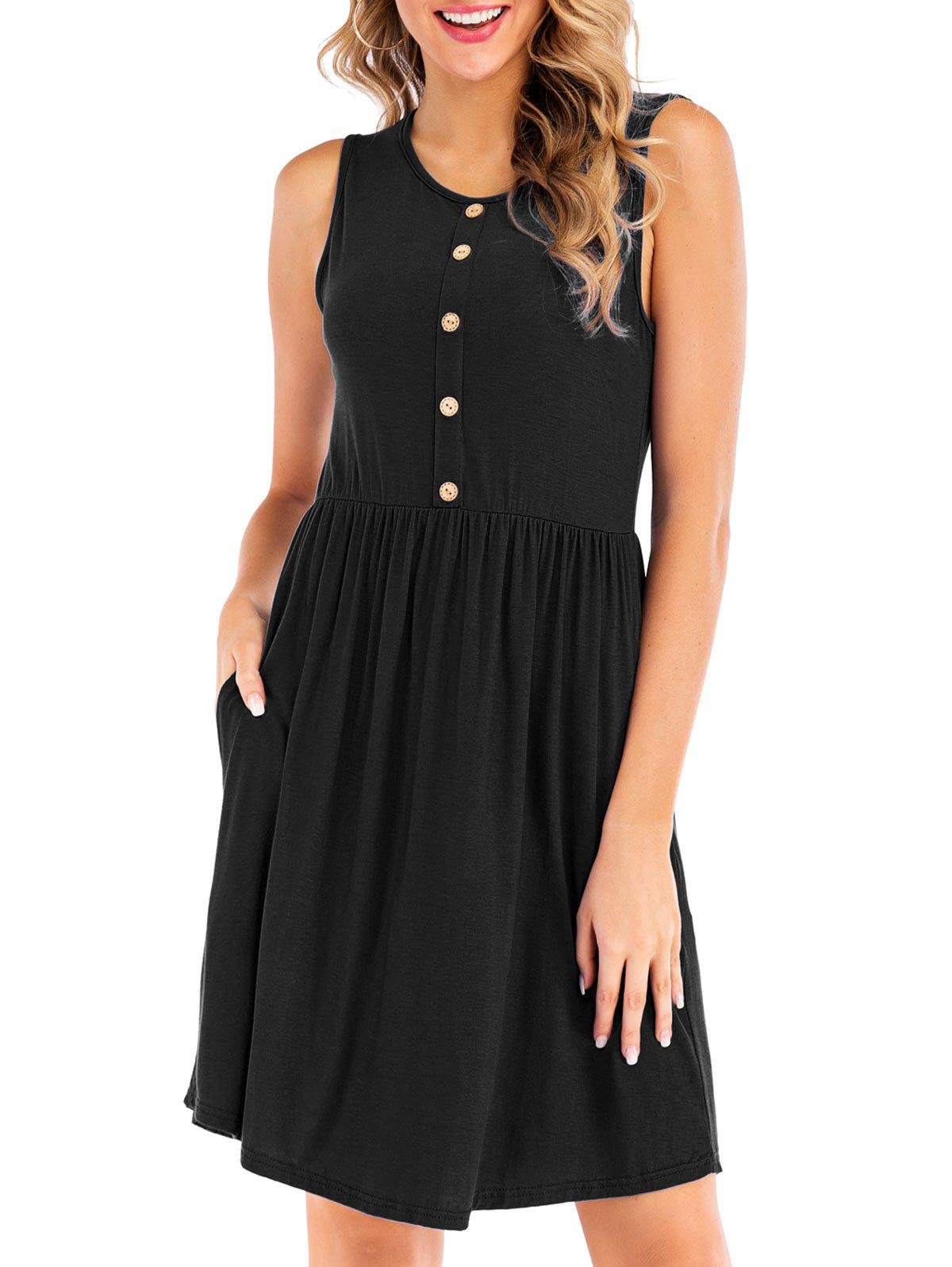 Fancy Button Embellished Sleeveless Dress