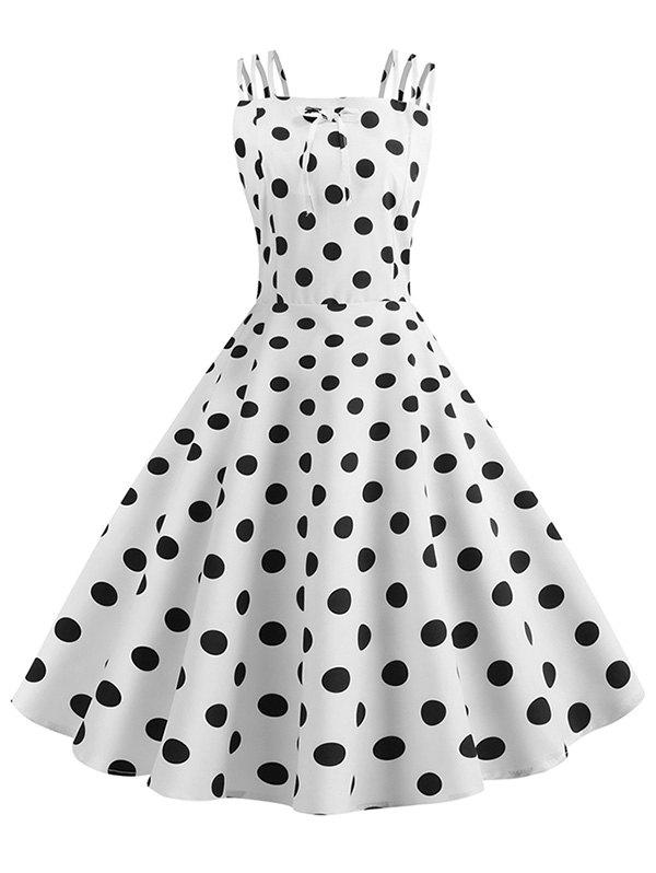 Outfits Bowknot Polka Dot Vintage Strappy Dress