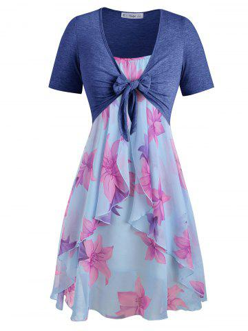 e46e730a8a Plus Size Knot Top and Floral Cami Dress