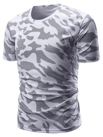 Plaid Camouflage Print Short Sleeves T-shirt