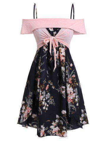 Plus Size Off Shoulder Knotted Floral Print Dress Twinset
