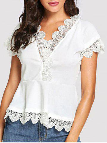 Lace Panel Short Sleeves Blouse