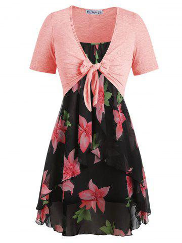 Plus Size Knot Top and Floral Cami Dress