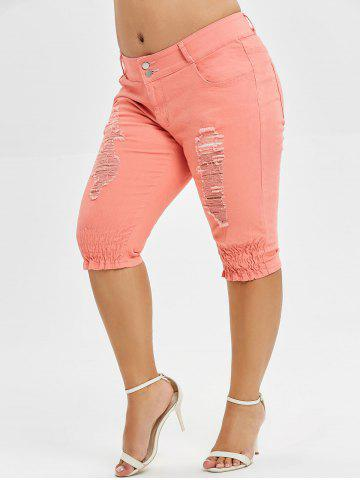 f7572b9a486 Plus Size Ripped Knee Length Jeans