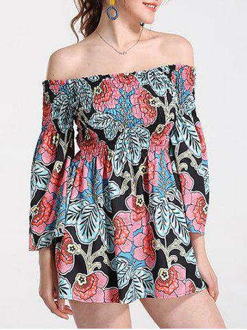 Off Shoulder Floral Print Bohemian Flare Dress
