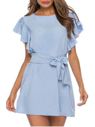 Ruffles Belted A Line Solid Dress