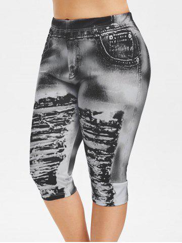 Plus Size 3D Ripped Jean Print Capri Legging - BLACK - 2X