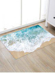 Beach Wave Pattern Flannel Water Absorption Area Rug -