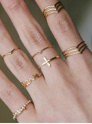 Cross LOVE Letter Knotted Ring Set -