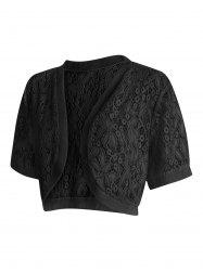 Lace Panel Plus Size Collarless Crop Top -