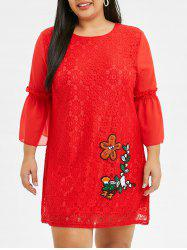 Bell Sleeve Embroidered Plus Size Lace Dress -