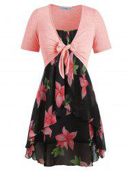 Plus Size Knot Top and Floral Cami Dress -