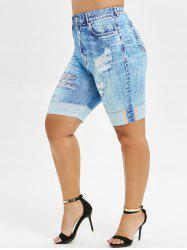 3D Jean Print Plus Size Mini Leggings -