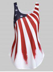 Flare American Flag Print Tank Top -