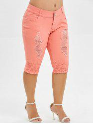 Plus Size Ripped Knee Length Jeans -