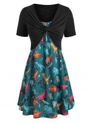 Plus Size Dinosaur Print Twist Two Piece Dress -
