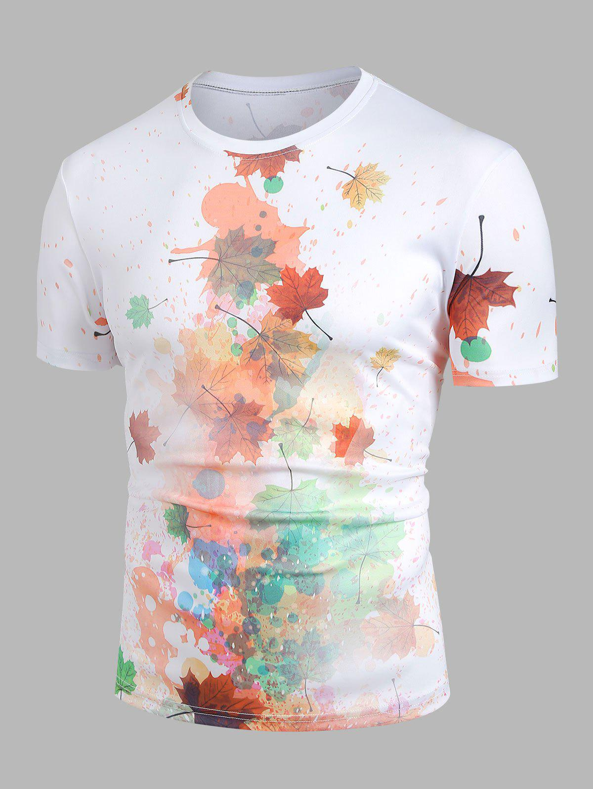 Affordable Paint Splatter Maple Leaf Print Round Neck T-shirt