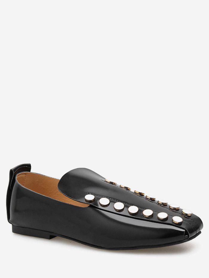 New Square Toe Round Studded Flat Shoes