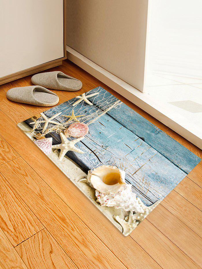 Beach Starfish Wood Grain Pattern Water Absorption Area Rug