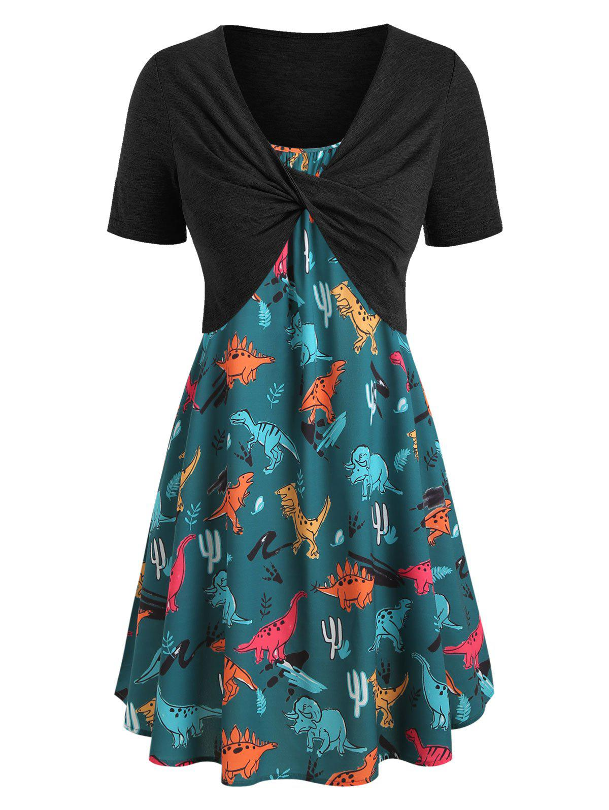 Buy Plus Size Dinosaur Print Twist Two Piece Dress