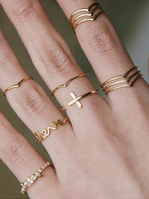 Fashion Cross LOVE Letter Knotted Ring Set