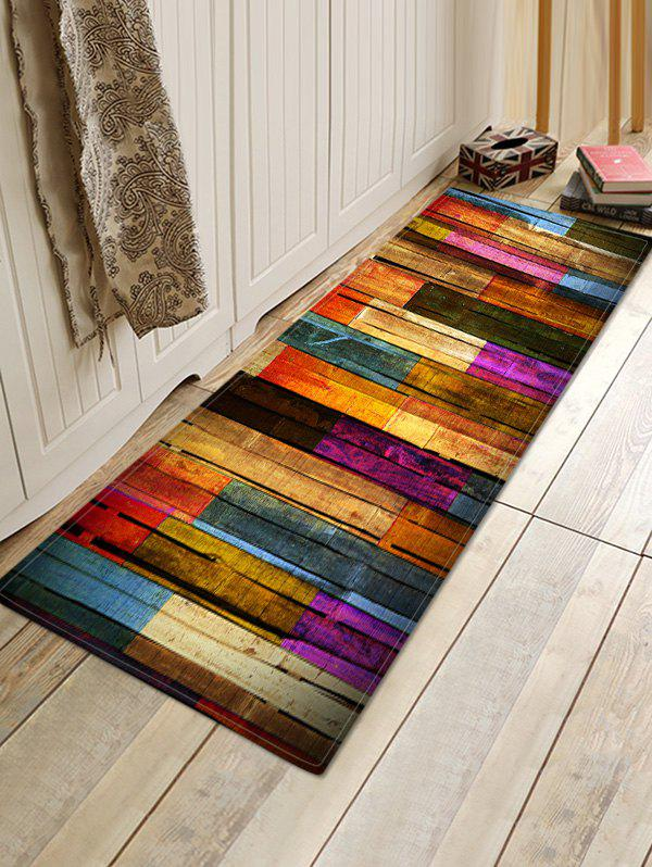 Colorful Wood Grain Pattern Flannel Water Absorption Area Rug