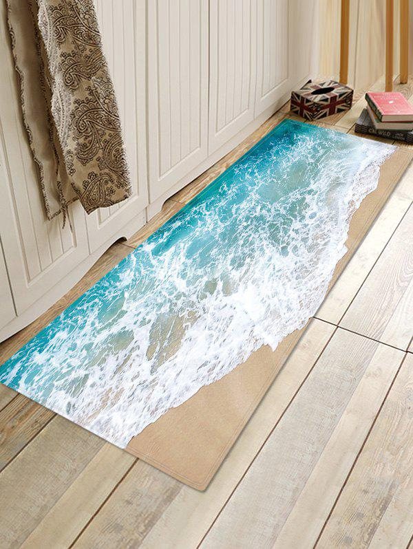 Beach Wave Pattern Flannel Water Absorption Area Rug