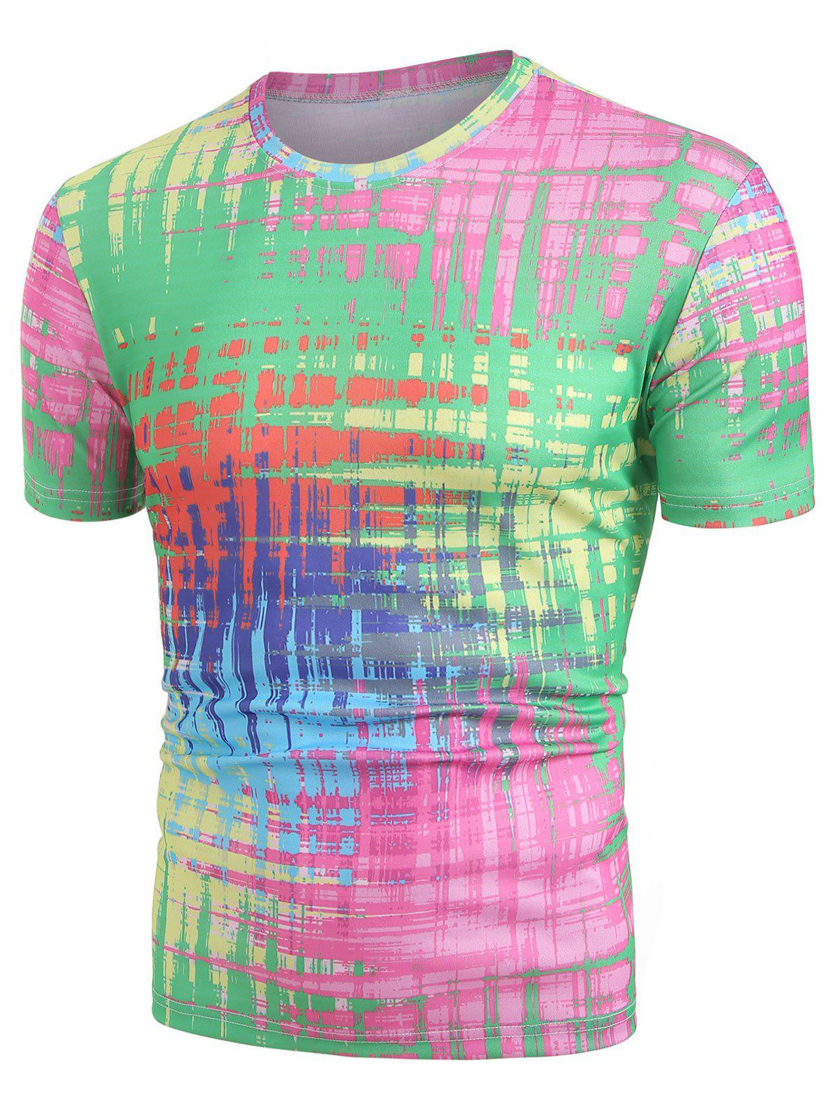 Colorful Abstract Print Round Neck T-shirt