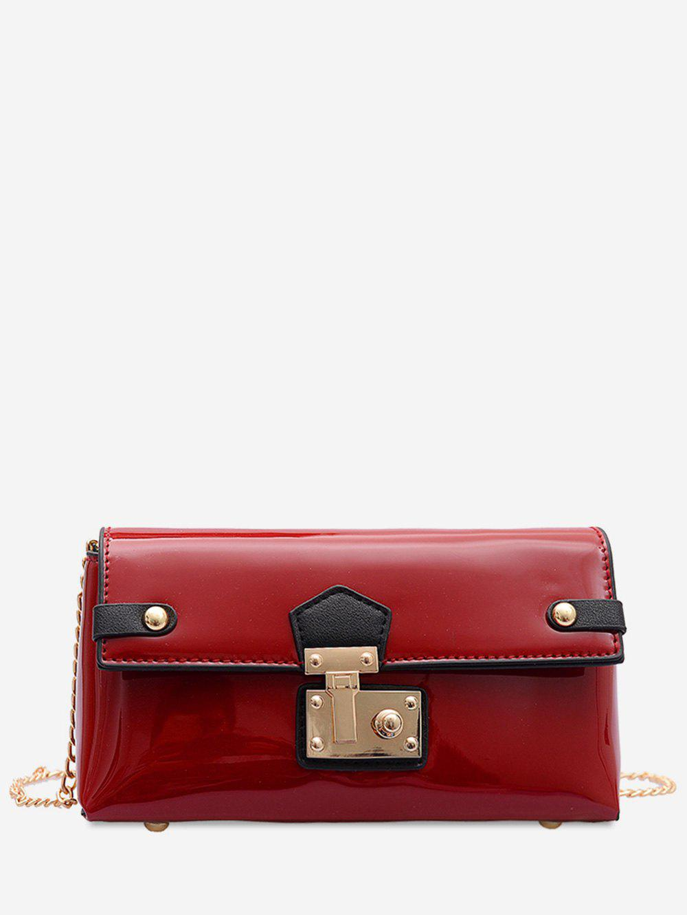 Metal Buckle Patent Leather Chain Crossbody Bag