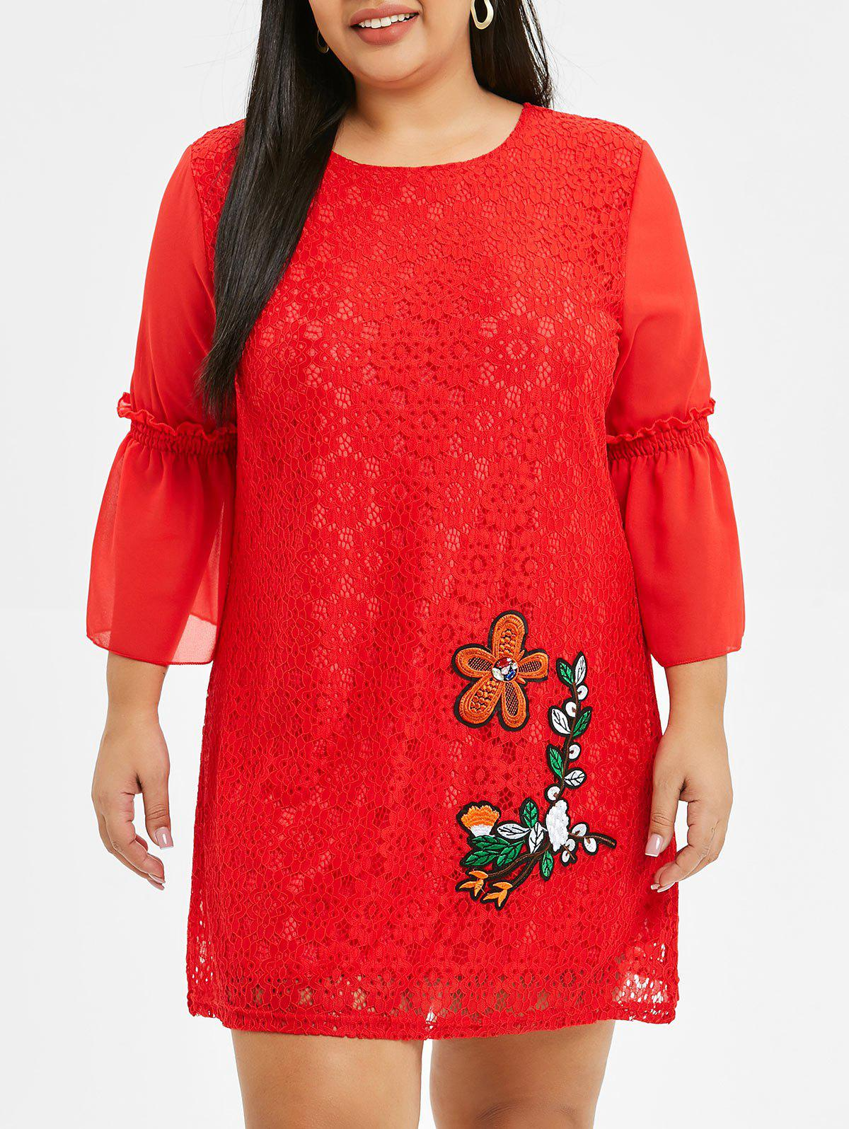 Chic Bell Sleeve Embroidered Plus Size Lace Dress