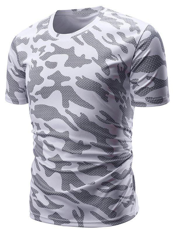 Affordable Plaid Camouflage Print Short Sleeves T-shirt