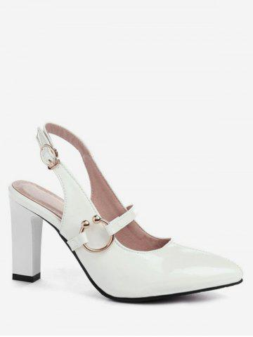 Pointed Toe Patent Leather Slingback Sandals