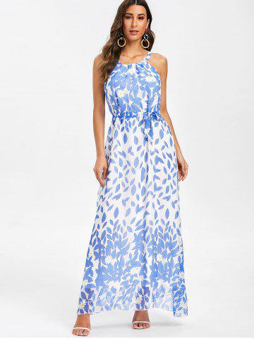 Floral Print Belted Sleeveless Maxi Dress