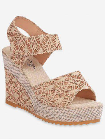 Lace Decoration Wedge Heel Sandals