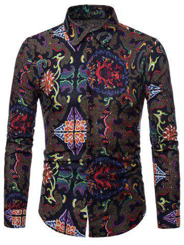 Tribal Print Long Sleeves Casual Shirt