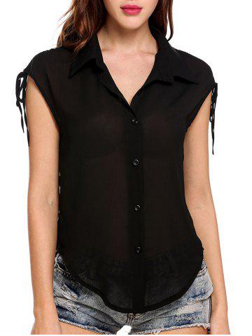 Button Up Semi Sheer Blouse
