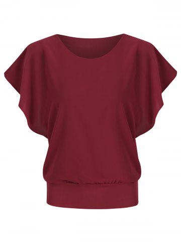Short Sleeves Solid Color Chiffon Blouse
