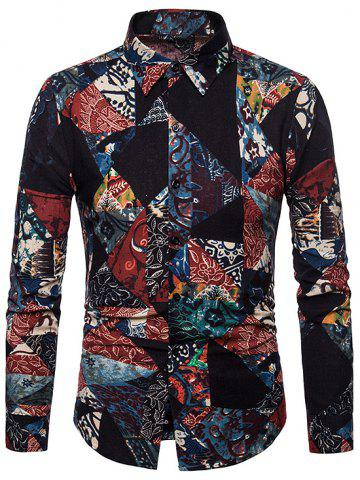 Geometric Floral Tribal Print Casual Shirt
