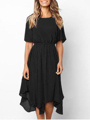 Short Sleeve Asymmetrical Midi Dress
