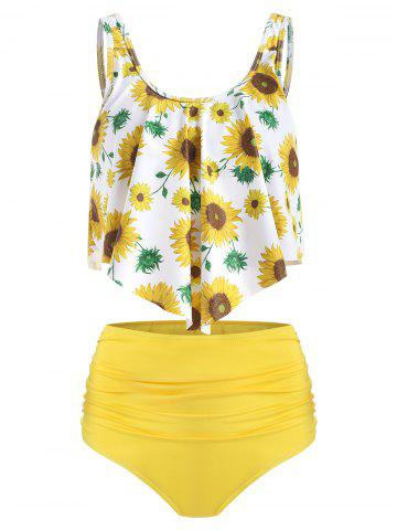 Floral Print Ruched Tankini Set