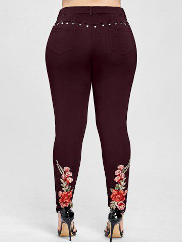 Floral Embroidery Rivet Plus Size Pencil Pants