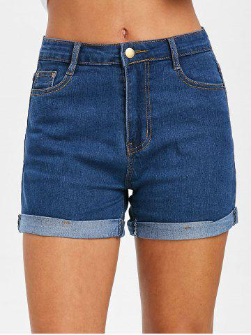 Rolled Hem Zipper Fly Jean Shorts