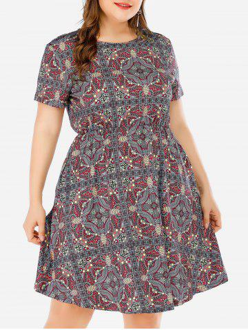 Elastic Waist Printed A Line Plus Size Dress