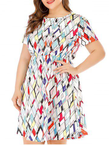 Geometric Print A Line Plus Size Dress