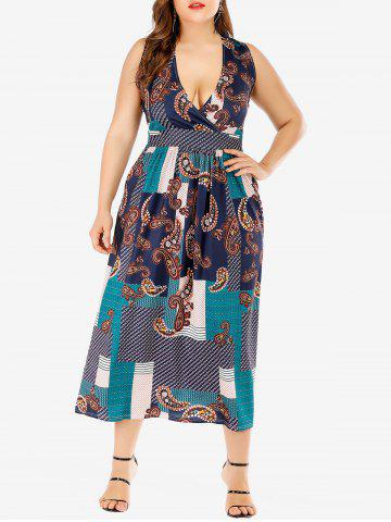 Printed Surplice Maxi Plus Size Dress