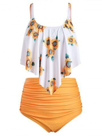 Plus Size Overlay Sunflower Print Ruched Bikini Set - SUNRISE ORANGE - 2X