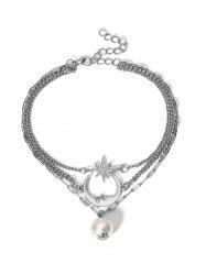 Moon Star Faux Pearl Multilayered Anklet -