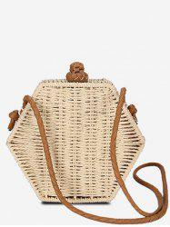 Personality Hexagon Straw Crossbody Bag -
