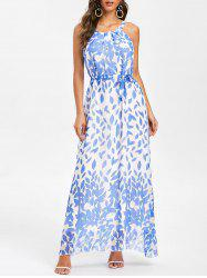 Floral Print Belted Sleeveless Maxi Dress -